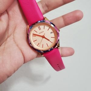 ‼️SALE‼️New! FOSSIL Adalyn Date Pink Leather Watch